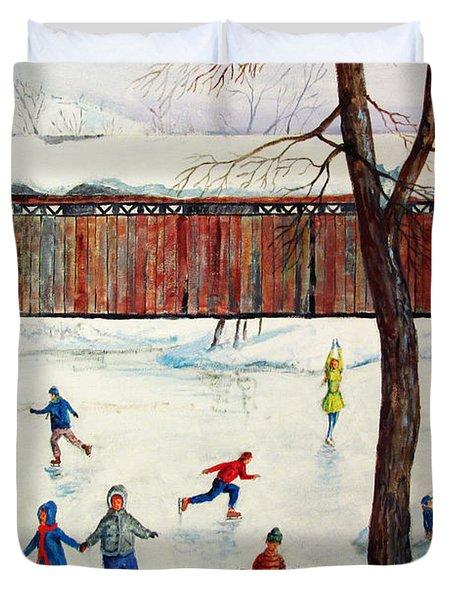 Skating At The Bridge Duvet Cover by Philip Lee