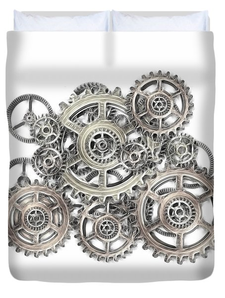sketch of machinery Duvet Cover by Michal Boubin