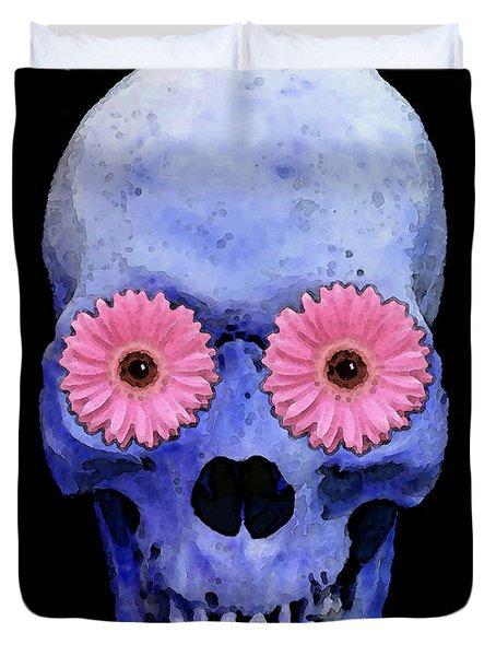 Skull Art - Day Of The Dead 1 Duvet Cover by Sharon Cummings