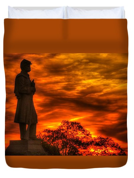 Sky Fire - West Virginia At Gettysburg - 7th Wv Volunteer Infantry Vigilance On East Cemetery Hill Duvet Cover by Michael Mazaika