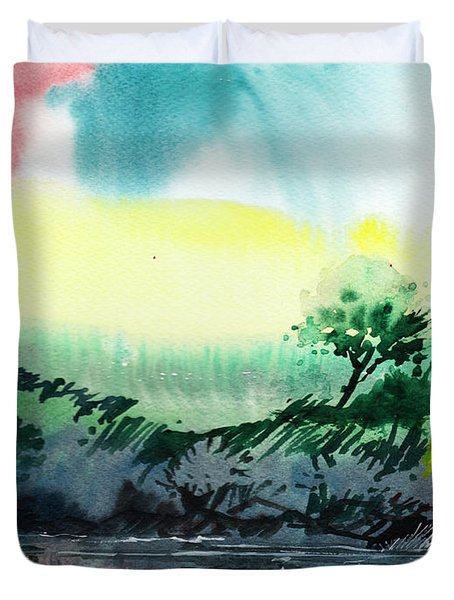 Sky N Lake Duvet Cover by Anil Nene