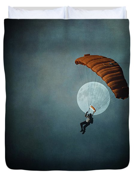 Skydiver's Moon Duvet Cover by Trish Mistric