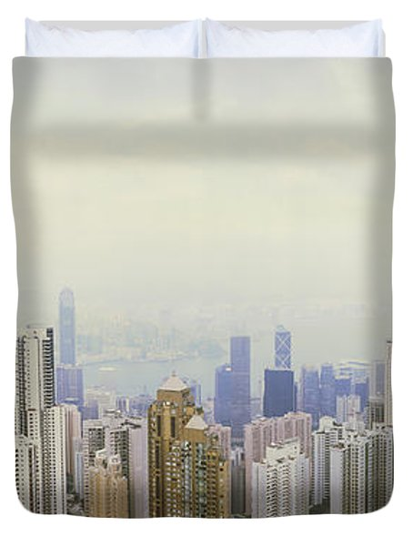 Skyscrapers In A City, Hong Kong, China Duvet Cover by Panoramic Images