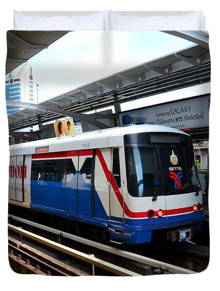Skytrain Carriage Metro Railway At Nana Station Bangkok Thailand Duvet Cover by Imran Ahmed