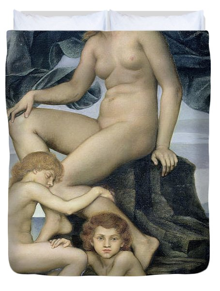 Sleep And Death The Children Of The Night Duvet Cover by Evelyn De Morgan