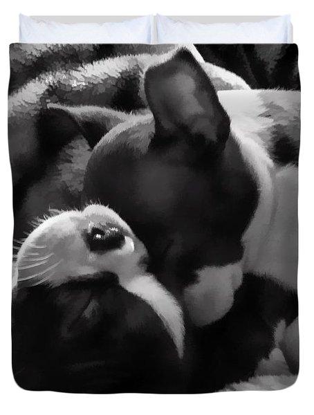Sleeping Beauties - Boston Terriers Duvet Cover by Jordan Blackstone