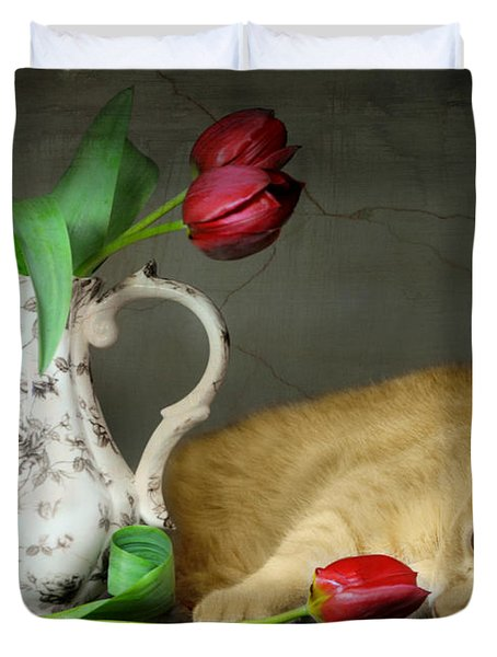 Sleepy Tulips Duvet Cover by Diana Angstadt