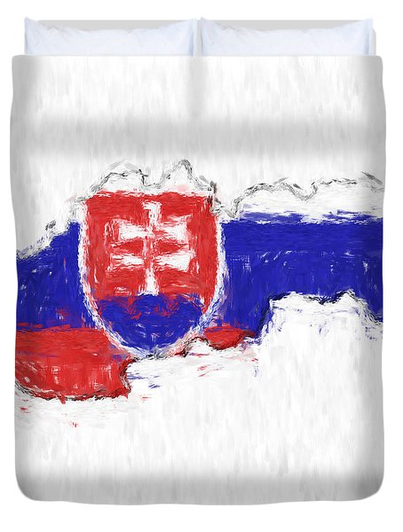 Slovakia Painted Flag Map Duvet Cover by Antony McAulay