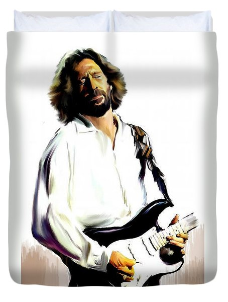 Slow Hand  Eric Clapton Duvet Cover by Iconic Images Art Gallery David Pucciarelli