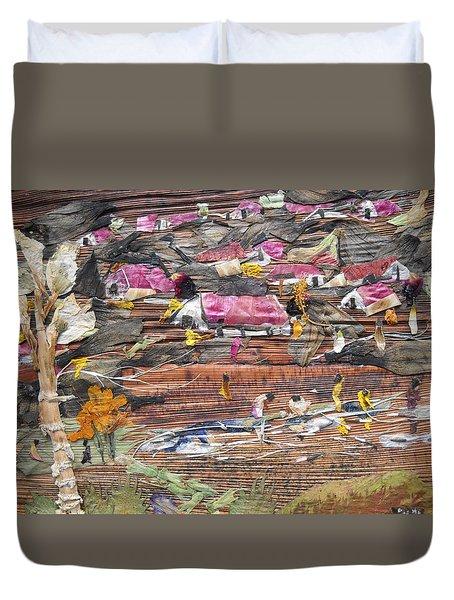 Slum On Hill  Duvet Cover by Basant Soni