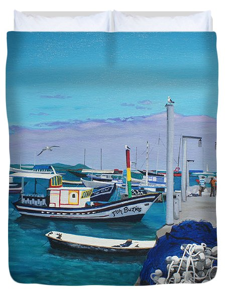 Small Pier In The Afternoon-buzios Duvet Cover by Chikako Hashimoto Lichnowsky