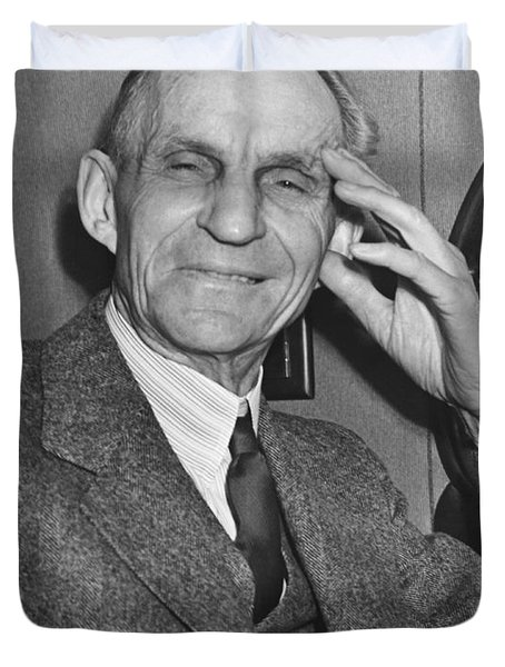 Smiling Henry Ford Duvet Cover by Underwood Archives
