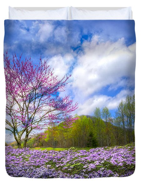 Smoky Mountain Spring Duvet Cover by Debra and Dave Vanderlaan