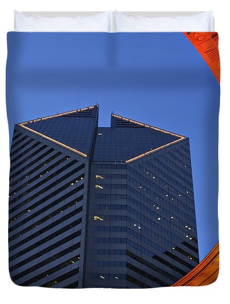 Smurfit-stone Building Behind  Wrigley Duvet Cover by Axiom Photographic