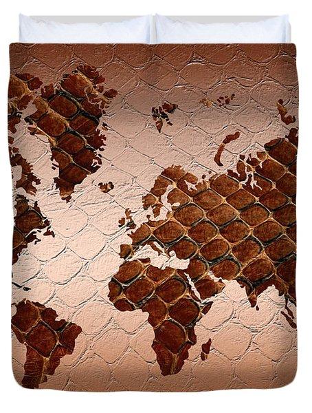 Snake Skin World Map Duvet Cover by Zaira Dzhaubaeva