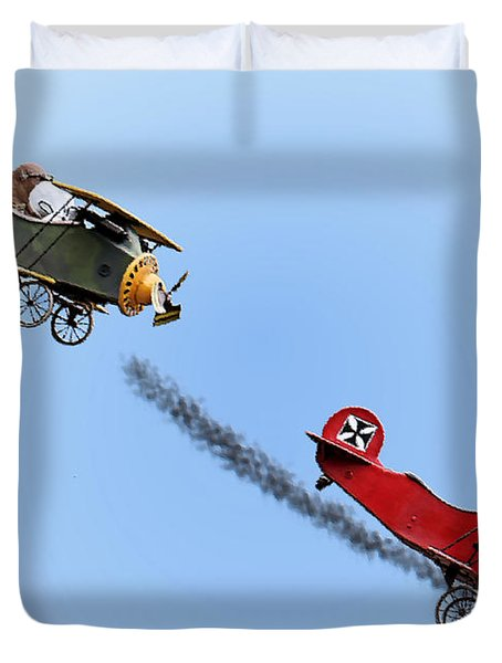 Snoopy And The Red Baron Duvet Cover by Kristin Elmquist
