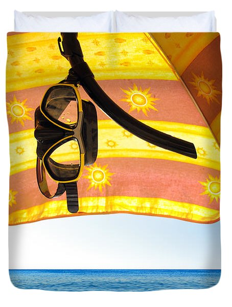 Snorkeling Glasses Duvet Cover by Carlos Caetano