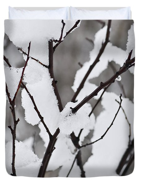 Snow covered branches Duvet Cover by Elena Elisseeva