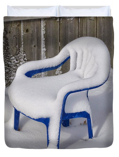 Snow Covered Chair Duvet Cover by Thomas Woolworth