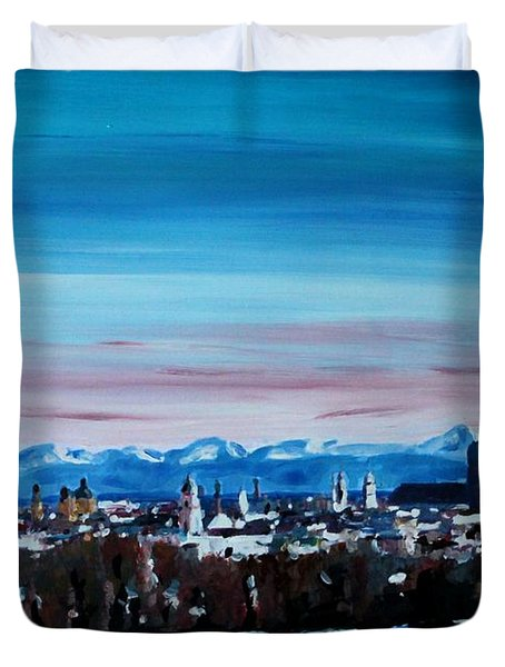 Snow Covered Munich Winter Panorama With Alps Duvet Cover by M Bleichner