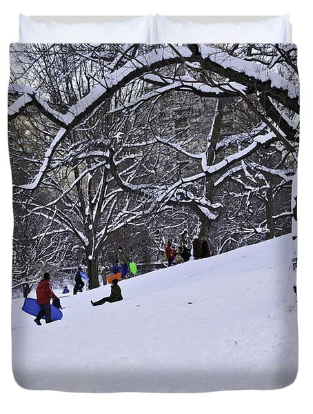 Snow Day in the Park Duvet Cover by Madeline Ellis