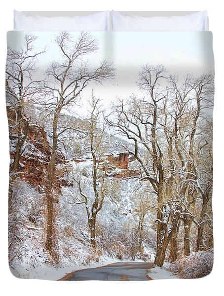 Snow Dusted Colorado Scenic Drive Duvet Cover by James BO  Insogna