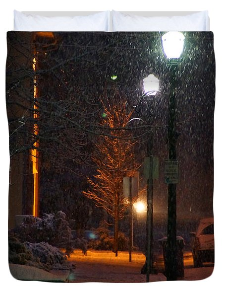 Snow In Downtown Grants Pass - 5th Street Duvet Cover by Mick Anderson