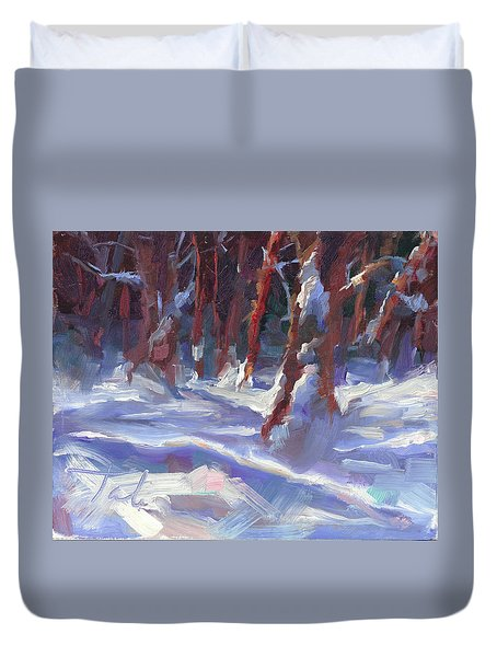 Snow Laden - Winter Snow Covered Trees Duvet Cover by Talya Johnson