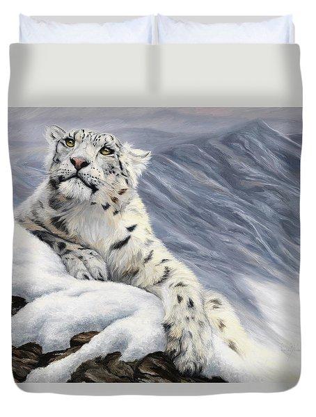 Snow Leopard Duvet Cover by Lucie Bilodeau