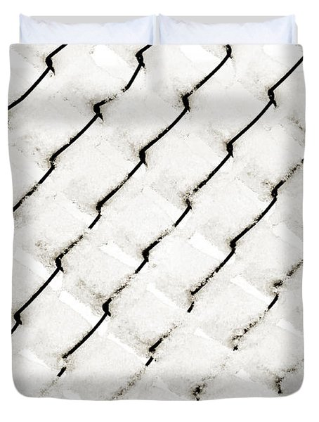 Snow Link Fence Duvet Cover by Andee Design