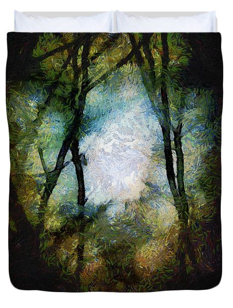 Snow Moon Embrace Duvet Cover by RC DeWinter