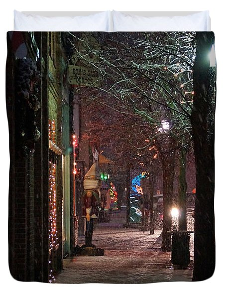 Snow On G Street 2 - Old Town Grants Pass Duvet Cover by Mick Anderson