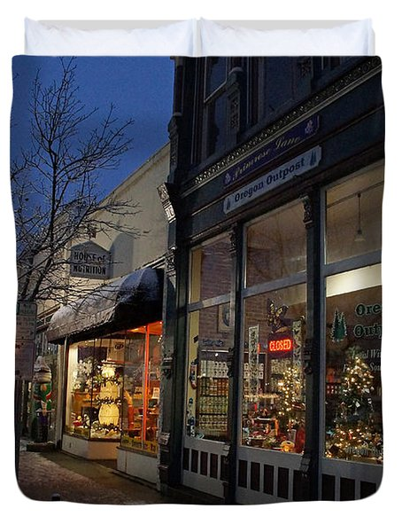 Snow On G Street - Old Town Grants Pass Duvet Cover by Mick Anderson