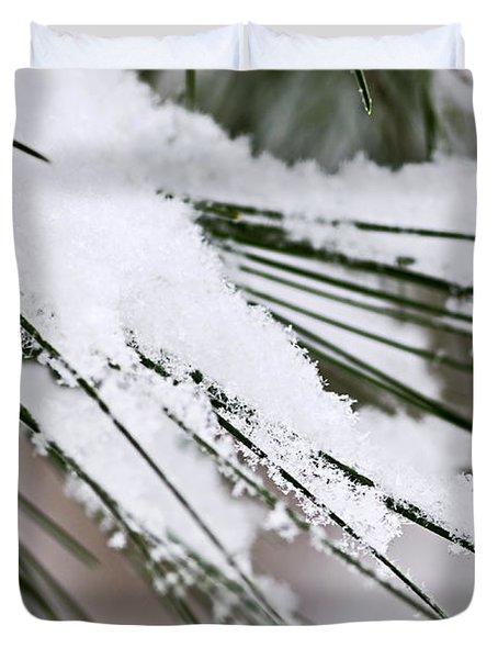 Snow On Pine Needles Duvet Cover by Elena Elisseeva