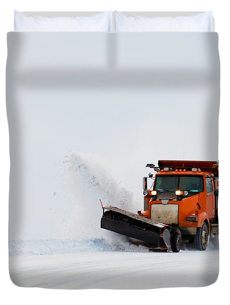 Snow Plough Clearing Road In Winter Storm Blizzard Duvet Cover by Stephan Pietzko