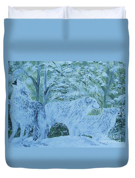 Snow Wolves Duvet Cover by Eloise Schneider