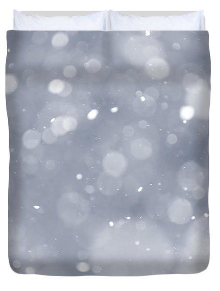 Snowfall Background Duvet Cover by Elena Elisseeva