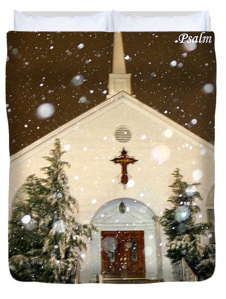 Snowing At The Chapel Duvet Cover by Kathy  White