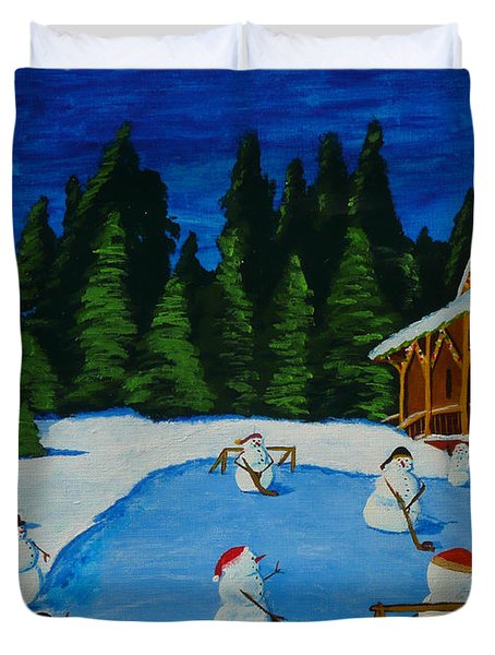 Snowmans Hockey Two Duvet Cover by Anthony Dunphy