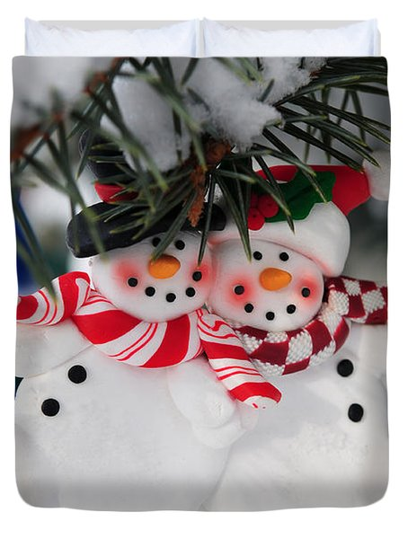 Snowmen Christmas Ornament Duvet Cover by Elena Elisseeva