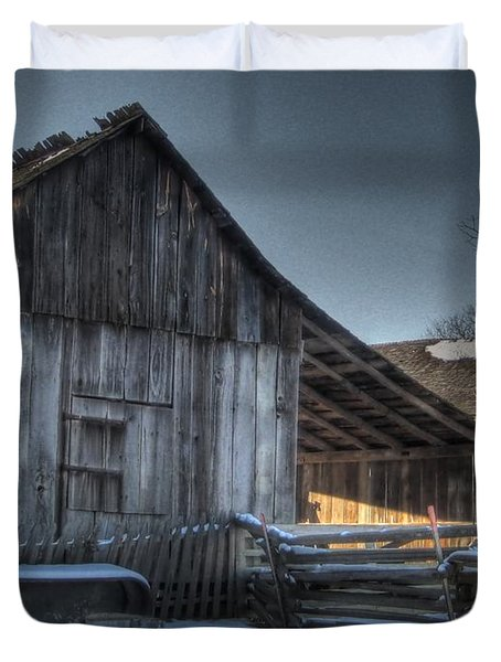 Snowy Barn Duvet Cover by Jane Linders
