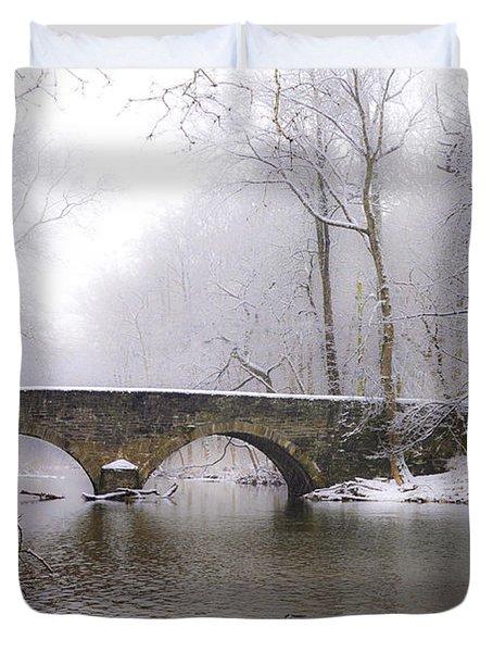 Snowy Bells Mill Road Bridge Duvet Cover by Bill Cannon
