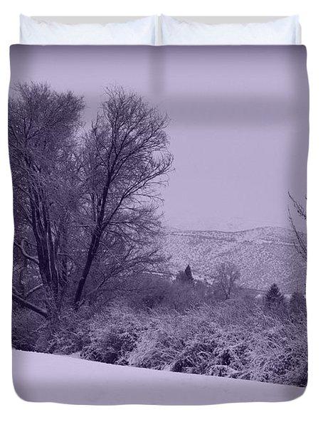 Snowy Bench In Purple Duvet Cover by Carol Groenen