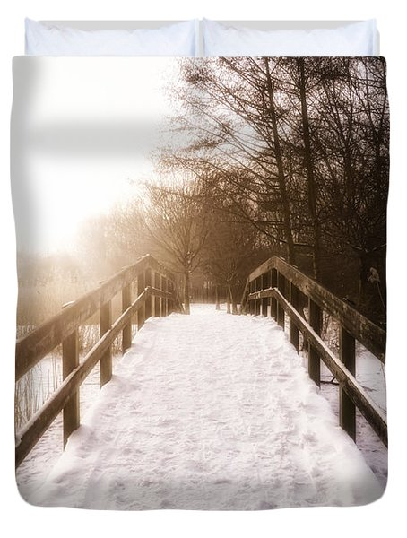 Snowy Bridge Duvet Cover by Wim Lanclus