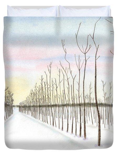 Snowy Lane Duvet Cover by Arlene Crafton