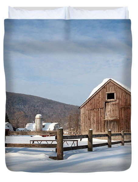 Snowy New England Barns Duvet Cover by Bill  Wakeley