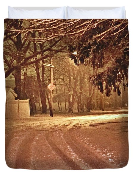Snowy Night Duvet Cover by Mikki Cucuzzo