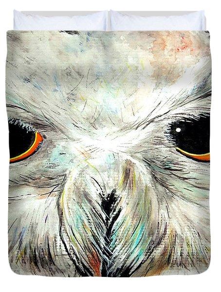 Snowy Owl - Female - Close Up Duvet Cover by Daniel Janda