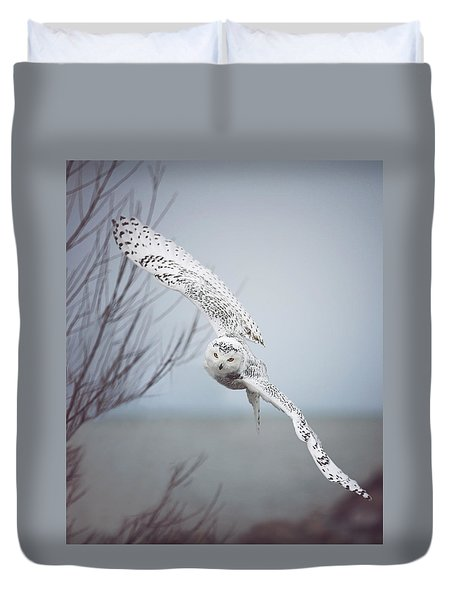 Snowy Owl In Flight Duvet Cover by Carrie Ann Grippo-Pike
