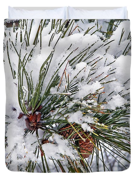 Snowy Pine Duvet Cover by Aimee L Maher Photography and Art